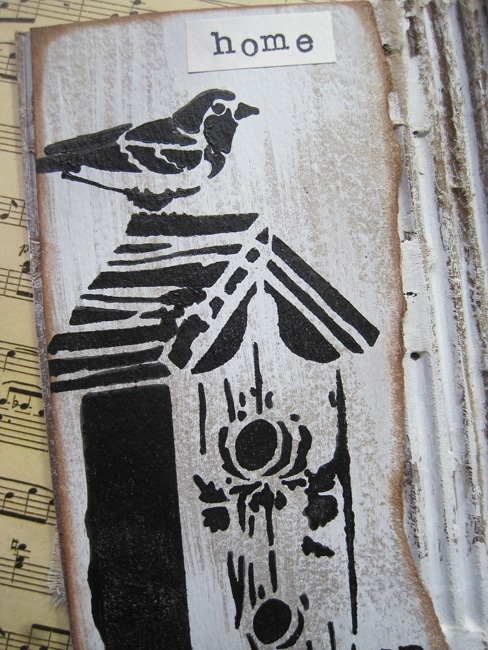 TCW664 stencil on cardboard with TCW black licorice acrylic paint LEFKO