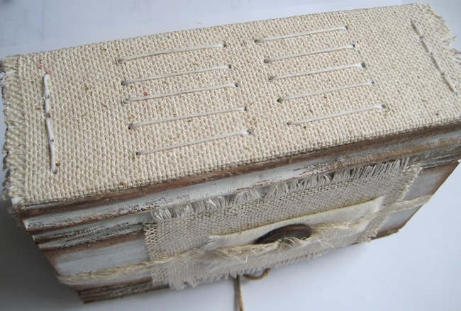 Bind journal with waxed linen cord and long stitch LEFKO
