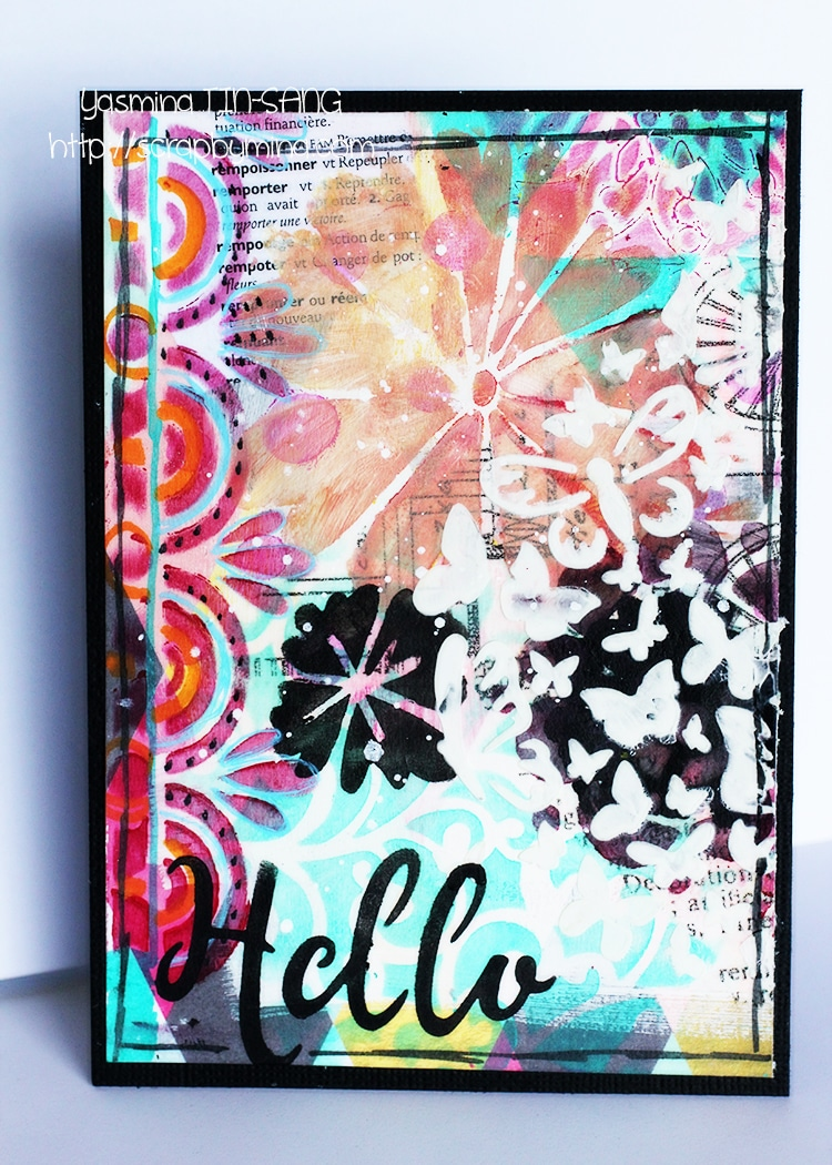 Mixed Media Card by Yasmina using new TCW Winter 2017 stencils and mediums.