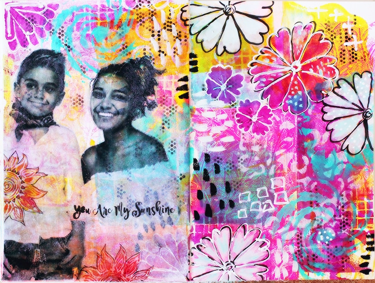 Art Journal page with a lot of TCW stencils and image transfert with Matte Gel Medium (TCW 9011)