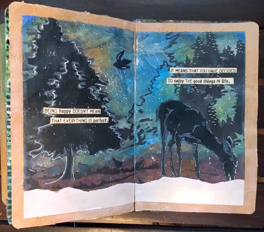 Kim Schofield, Nature Art Journal, Deer in Woods