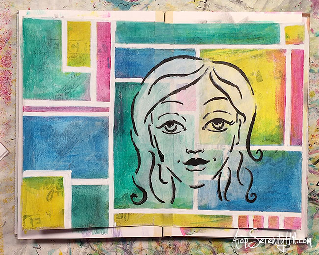 Video tutorial of a vision board art journal page using stencils and paint from The Crafter's Workshop • AtopSerenityHill.com