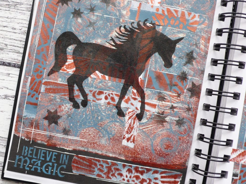 How to create a fun art journal page using gel press print backgrounds