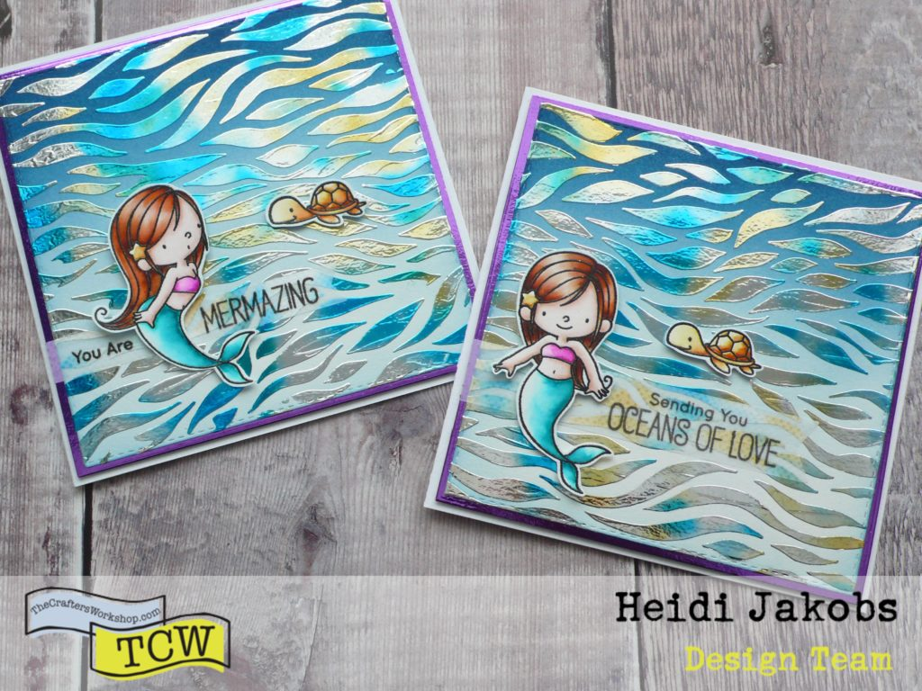 how to create fun and easy ocean themed cards using stencils and transfer foil