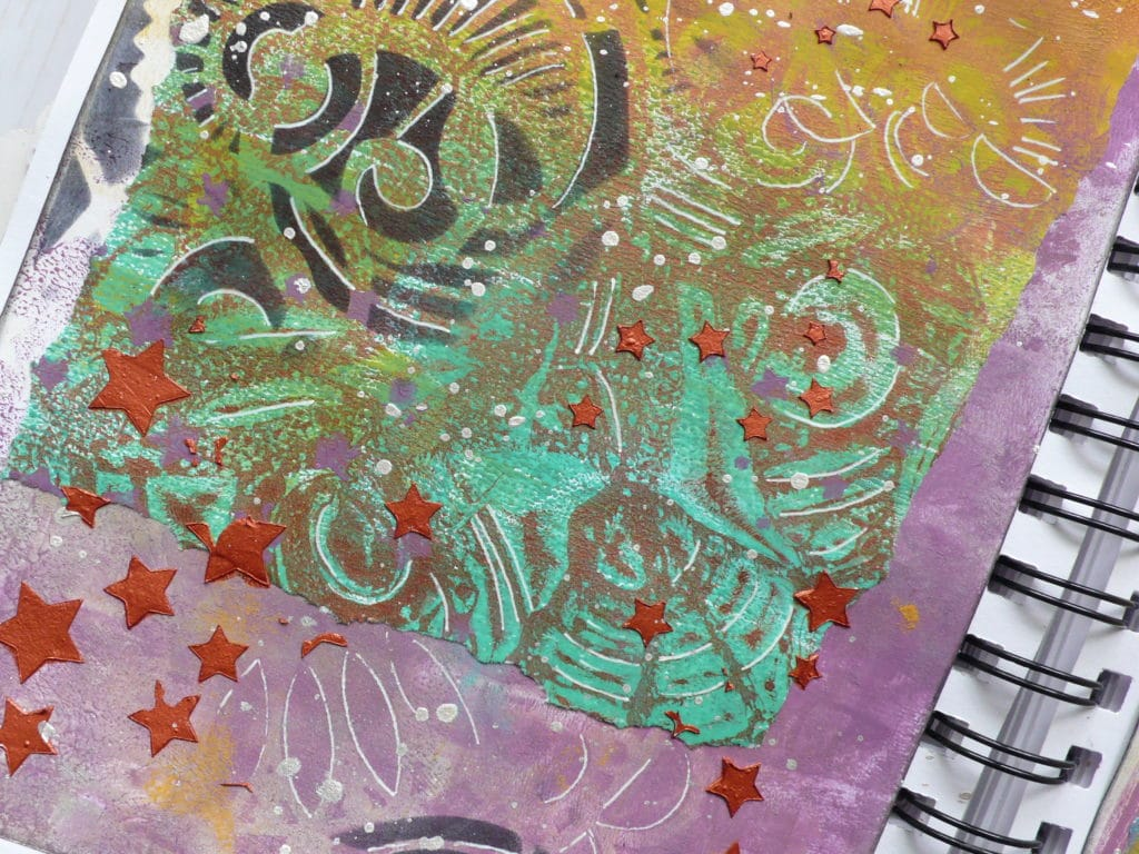 Step by step art journal page tutorial with doodling, stencils and Gel Press mono prints