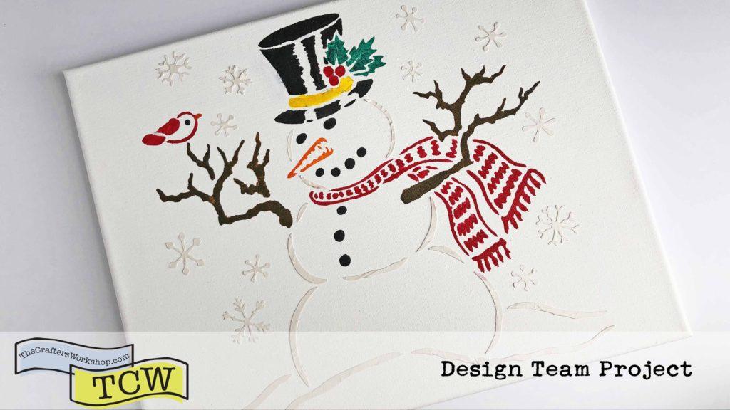 DIY Christmas Decor Canvas - Mr. Snowman Stencil