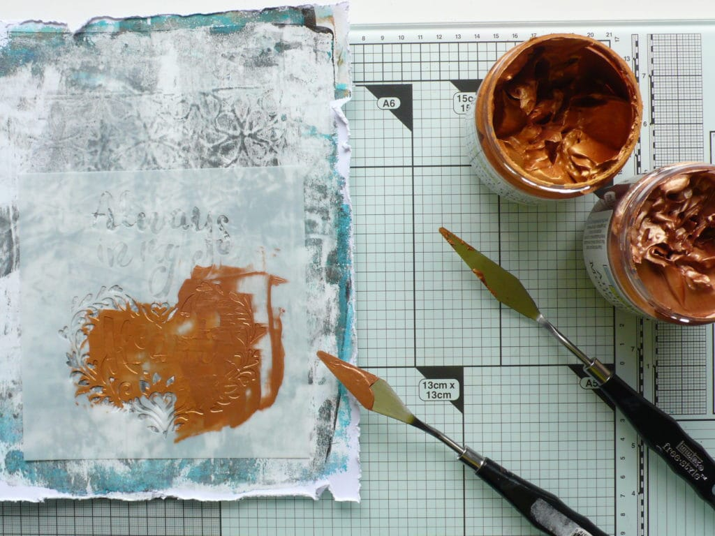 Step by step tutorial for creating a tranquil art journal page