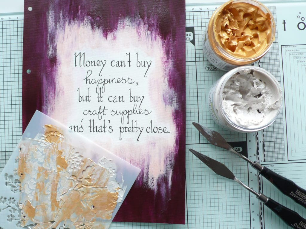 Step by step tutorial on how to create a fun layerd art journal page using TCW paints and modeling pastes