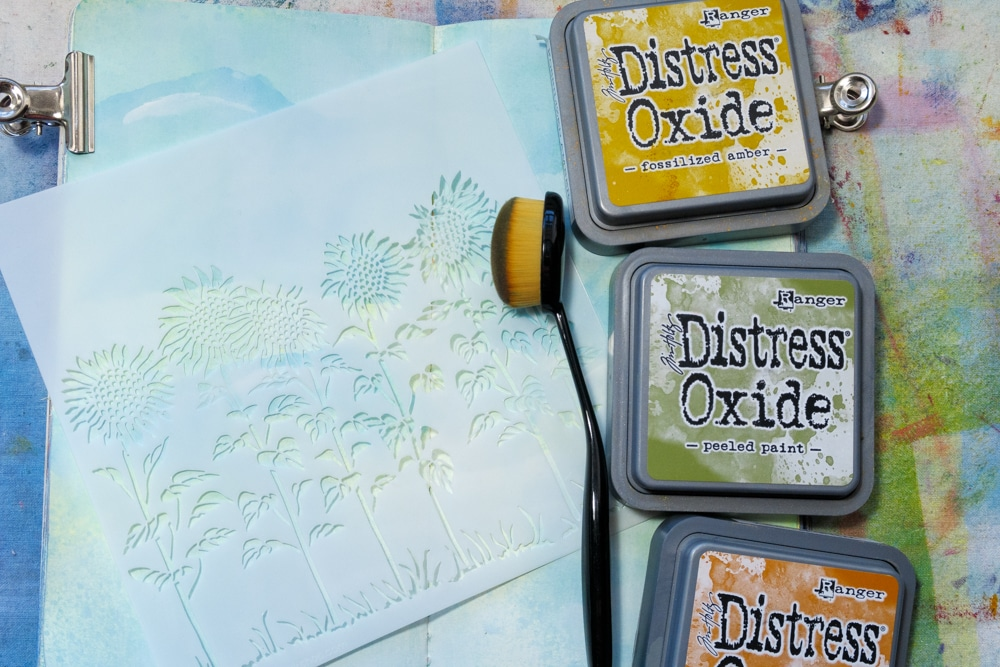 The Crafter's Workshop Blog stencilling with TCW863 Sunflower Meadow + Distress Oxide inks