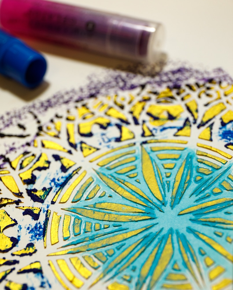 Use Gelatos to create a shimmery, textured art journal page with Robyn Wood and The Crafter's Workshop stencils & mediums
