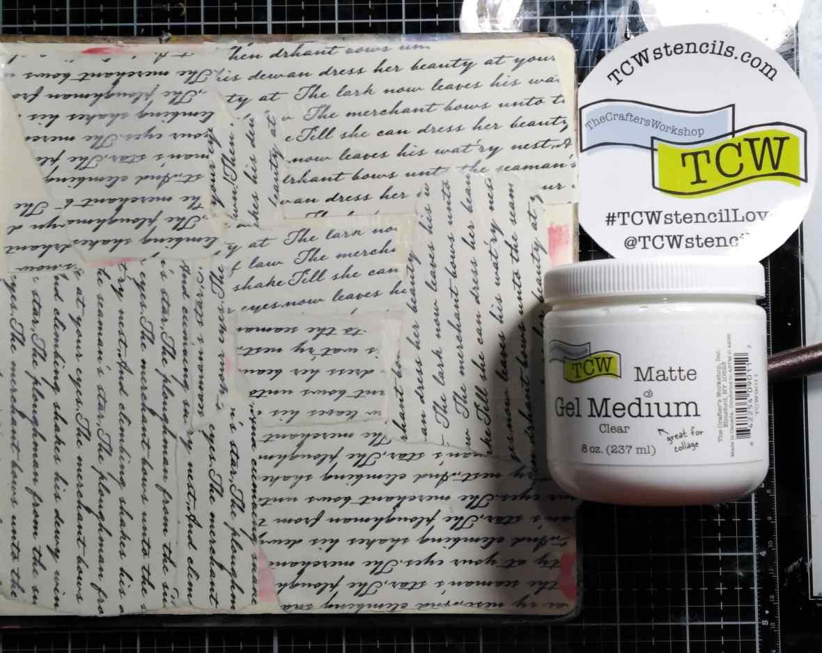 Art journal gluing scrapbook paper with TCW9011 Matte Gel medium.