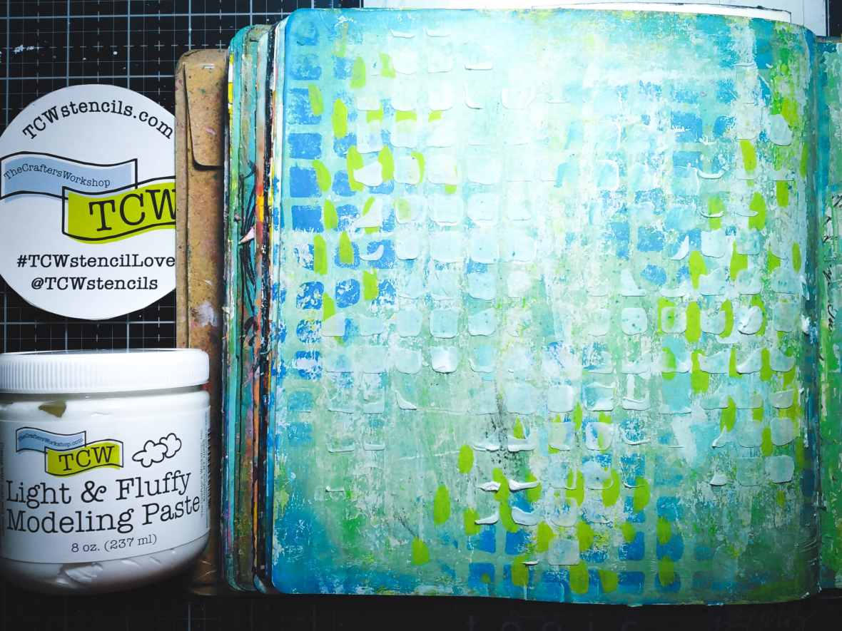 Mixed media journal spread, background texture with light and Fluffy modeling paste and stencils. #tcwstencillove