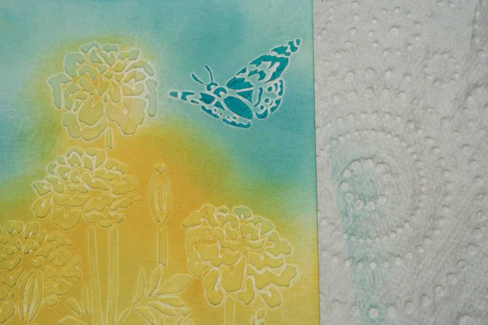Butterfly image sponged with deep blue ink.