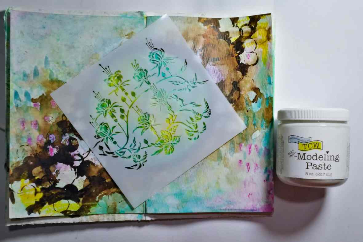 Journal spread, background texture with modeling paste and stencils. #tcwstencillove