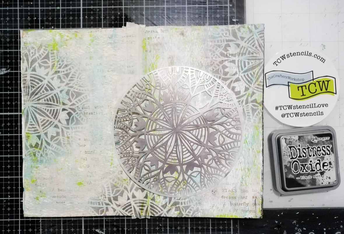 Art journal background stenciling with Distress oxide inks, TCW Stencils.