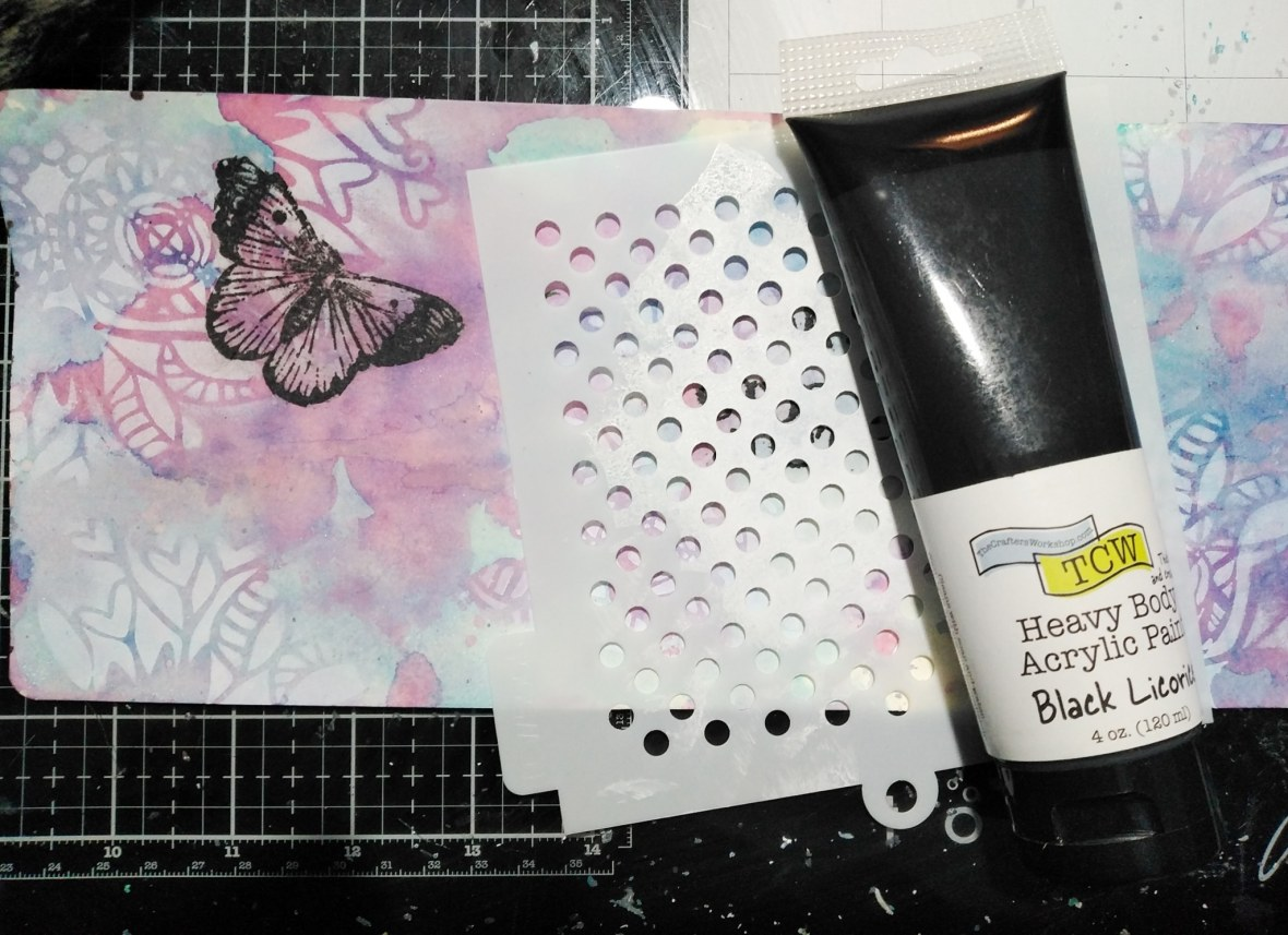 Background stenciling with The Crafters Workshop stencils and acrylic paints.