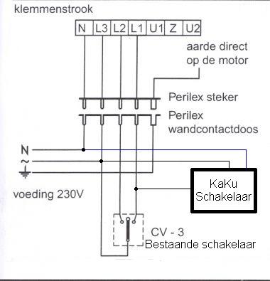 Centrale afzuiging draadloos op afstand bedienen middels KaKu