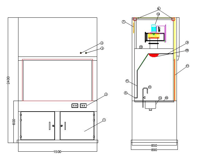 cấu tạo tủ hút khí độc