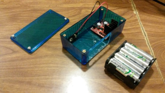 Modified a $10 case to hold driver circuit and 8xAA battery pack