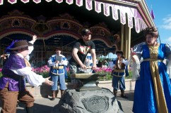 They pulled Damon from the crowd hoping he'd be strong enough to pull the sword from the stone while searching for a hero for Fantasyland.