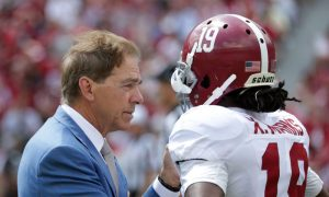 Alabama head coach Nick Saban talking to WR Xavian Marks during 2017 A-Day Game