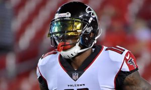Julio Jones on the field for Atlanta Falcons for 2017 game