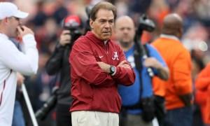 Nick Saban coaching Alabama during Iron Bowl