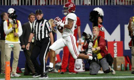 Jaylen Waddle scores a touchdown versus Georgia in 2018 SEC Championship Game