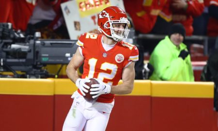 Gehrig Dieter celebrates a near TD for the Chiefs versus the New England Patriots in 2019 AFC Championship Game