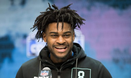 Trevon Diggs being interviewed at 2020 NFL Scouting Combine