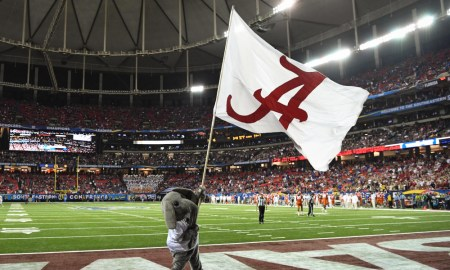 Alabama flag waving inside Georgia Dome for 2016 SEC title game