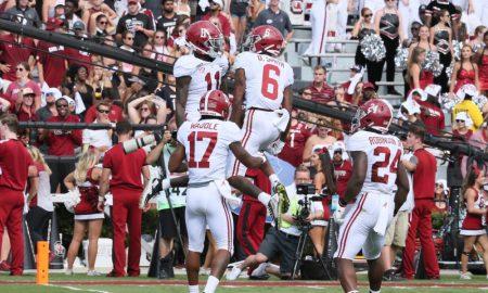 Alabama receivers celebrate a touchdown in 2019 season