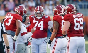 Nick Saban talking to Alabama's offensive line during a time out at the Citrus Bowl