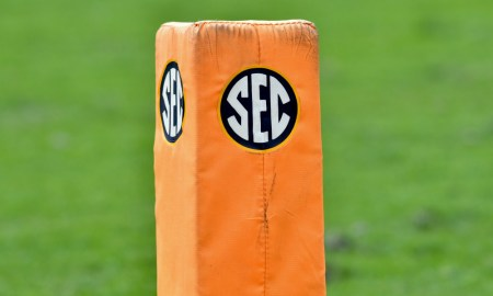 View of SEC logo on pylon at Tennessee vs. South Carolina matchup from 2017 season