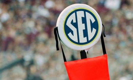 A look at the SEC logo on the down marker in 2016 during Texas A&M's matchup versus UCLA