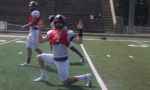 zach Pyron warming up for scrimmage