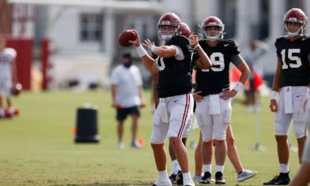 Mac Jones throws ball at Alabama 2020 fall practice