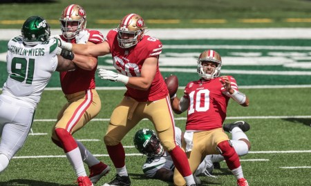 Quinnen Williams of the Jets sacks Jimmy Garoppolo of the 49ers on Sunday