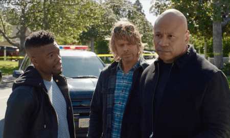 Caleb Castille poses with LL Cool J and Eric Christian Olson on set of NCIS: Los Angeles