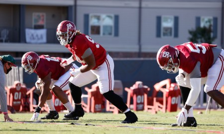 DJ Dale (No. 94) in defensive line drills with LaBryan Ray (No. 18) and Christian Barmore (No. 58) at Alabama