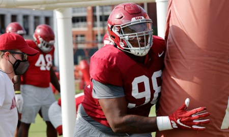 Jamil Burroughs working at fall practice for Alabama