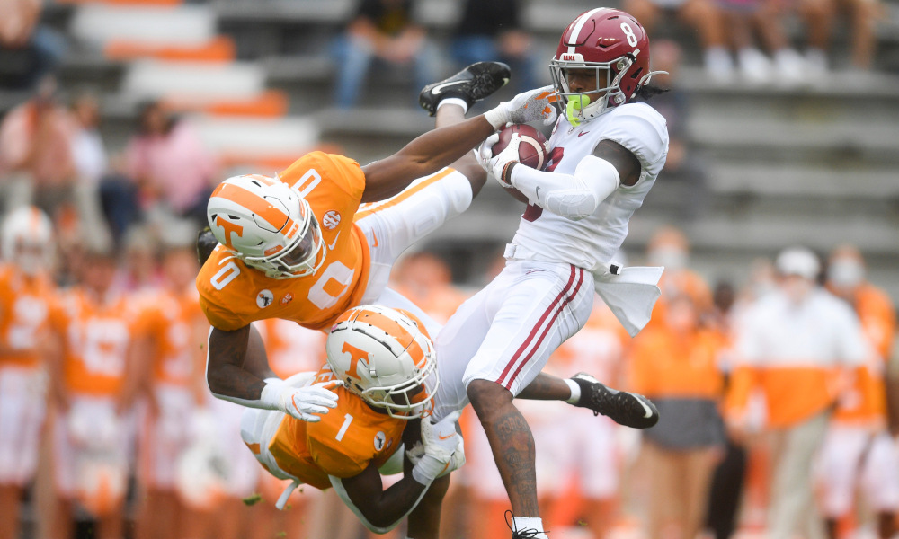 John Metchie with a catch in double coverage versus Tennessee