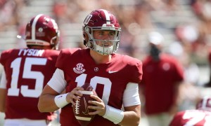 Mac Jones in pregame warmups for Alabama versus Texas A&M