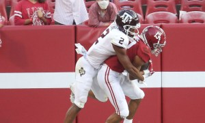 Malachi Moore recorded his first career interception for Alabama versus Texas A&M in 2020