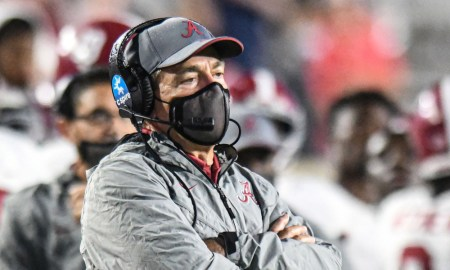 Nick Saban looks on the field during Alabama-Ole Miss game