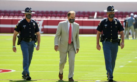 Nick Saban doing pregame walk onto the field at Bryant-Denny Stadium