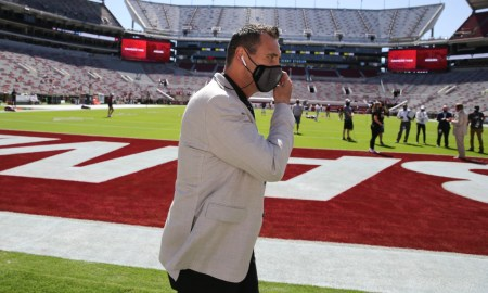 Steve Sarkisian walks around Bryant-Denny Stadium prior to TAMU game