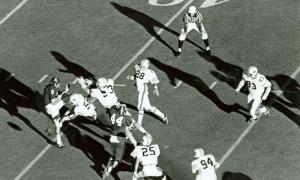 David Langner (No. 28) of Auburn returns two blocked Alabama punts for touchdowns in 1972 Iron Bowl