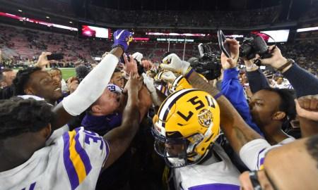 Ed Orgeron and LSU Tigers celebrate 2019 win over Alabama