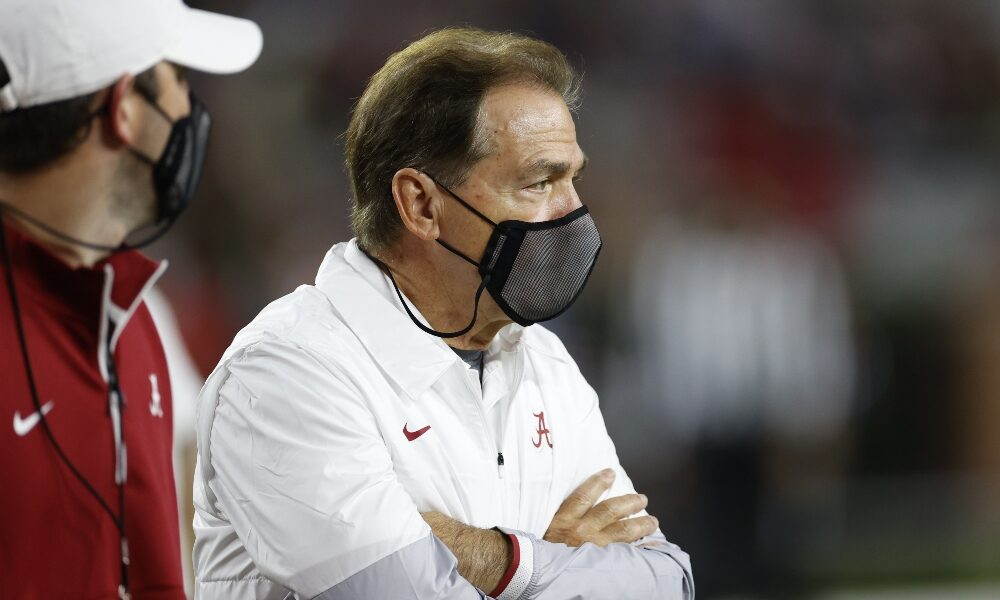 Nick Saban watches from the sidelines against Georgia